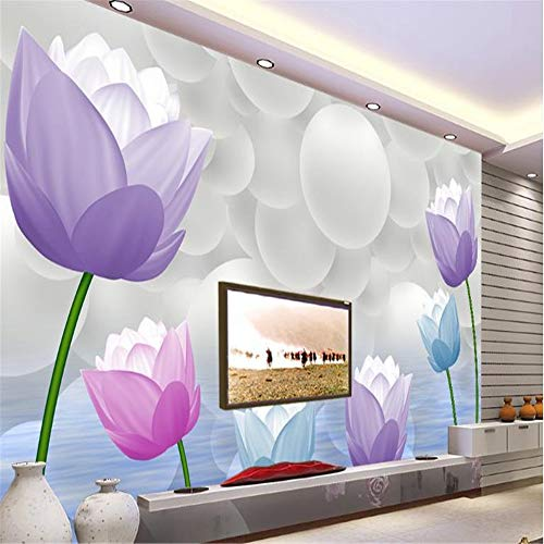 Preisvergleich Produktbild zyyaky Wallpaper Abstract Colorful Lotus Wallpaper Wall 3D Wall Background Decoration
