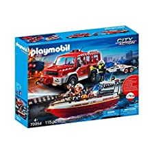 Playmobil 70054 Fire Brigade Fire Engine with Fire Boat Multi-Coloured