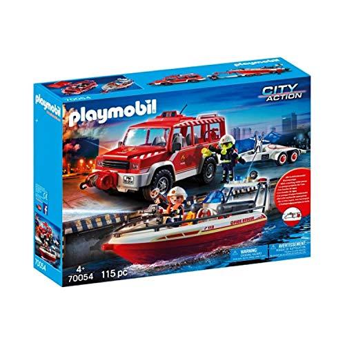 Playmobil 70054 City Action - Set véhicule et Bateau de Pompiers -...