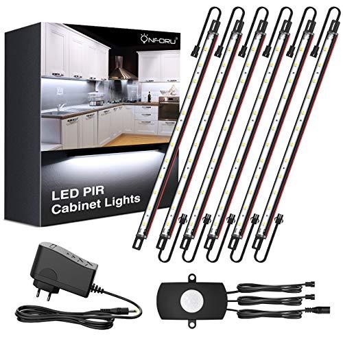Onforu 6er Set LED Unterbauleuchte Schrankleuchte | Intelligenter Bewegungsmelder LED Schrankleuchte mit Netzteil | 5000K 12V LED Lichtleiste Vitrinenbeleuchtung Küchenlampen | alle Zubehöre inkl.