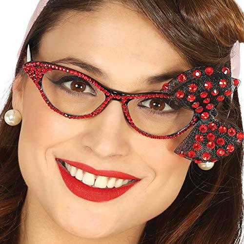NET TOYS Rockabilly Retro-Brille | Schwarz-Rot | Glitzerndes Damen-Accessoire 50er Jahre Cateye | EIN Highlight für Mottoparty & ()