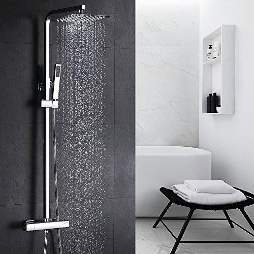 Homelody Duschsystem mit Thermostat Duscharmatur Regendusche Eckig Duschset inkl. Überkopfbrause Handbrause Regenbrause