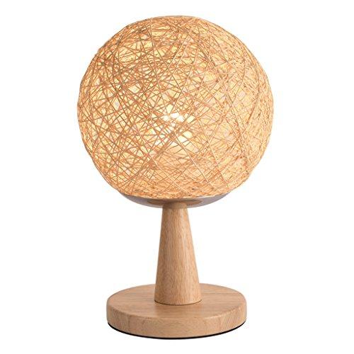 JIAHONG Creative round Hemp ball lampe de table LED, tissé à la main naturelle rotin artisanat de haute qualité éclairage de chevet lampe de table décorative ( Size : 33cm )