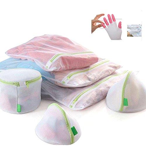Wäschebeutel, wiederverwendbare Mesh-Waschbeutel mit Reißverschluss Große Mesh und feines Mesh für Maschinenwäsche Lingerie, Strumpfhosen, Socken und Unterwäsche 6 Mesh-Wäschebeutel (Plus Gummihandschuhe) (Antibakterielle Deodorant Seife)