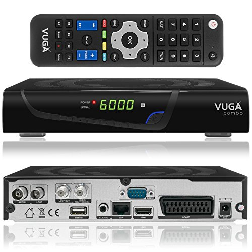 Vuga Combo Full HDTV H.265 digitaler Satelliten DVB-C/T2 Receiver inkl. Wlan Stick (IPTV, Apps, DVB-S2, HDMI, SCART, LAN, USB 2.0, Full HD 1080p) Schwarz