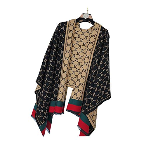 Chanel Damen Accessoires (CC Brief Nachahmung Kaschmir Schal Weiblich Europa Und Die Vereinigten Staaten Winter Dicke Warme Doppelseitige Schal Wild,Black)