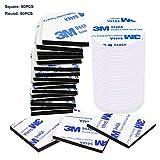 Discra [100 pezzi] Cuscinetti biadesivi in schiuma resistente, nastro adesivo di montaggio, nero quadrato e bianco rotondo