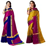 Art Décor Sarees Women's Pack of 2 Sarees Cotton Silk Saree With Blouse (Pack of Two Sari) - More Then 30 Colors