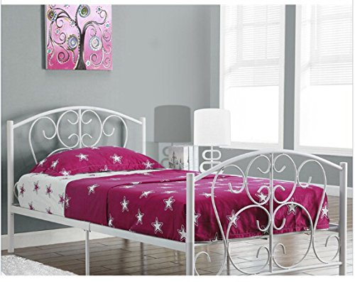 Comfy Living 3ft Single Modern Metal Bed Frame in White or Pink (White)