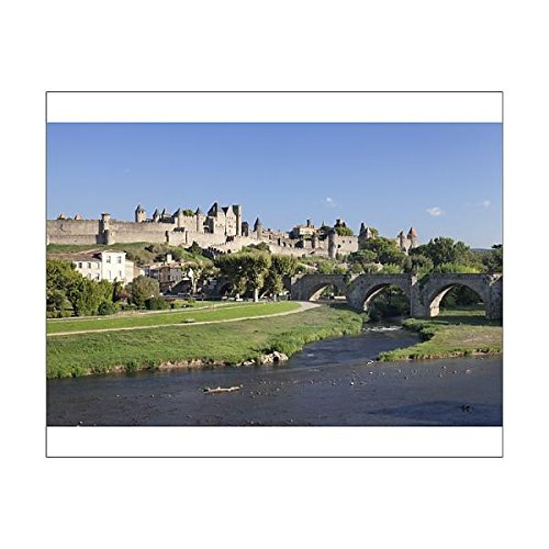 20x16 Print of La Cite, medieval fortress city, bridge over River Aude, Carcassonne (11780482)