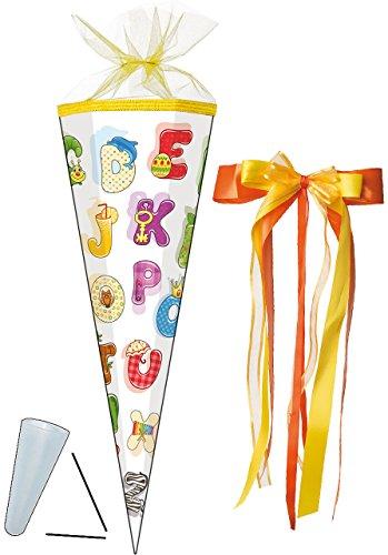 """Preisvergleich Produktbild Schultüte - """" buntes ABC - Alphabet """" - 35 cm - rund - incl. große SCHLEIFE - mit Tüllabschluß - Zuckertüte - Nestler - mit / ohne Kunststoff Spitze - für Jungen & Mädchen - lustige bunte Buchstaben lernen - Buchstabe lesen üben / Schultüten - Geschenktüte - Schulanfang - Schulbeginn"""