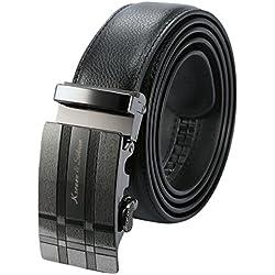 KS KB053 - Cinturón Hombre Negro de Cuero, Hebilla Automática de Acero Inoxidable