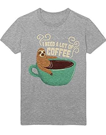 T-Shirt I Need A Lot of Coffee Sloth Faultier Funny Hipster Morgen Muffel Kaffee Esspresso Latte Macchiato H970009 Grau S
