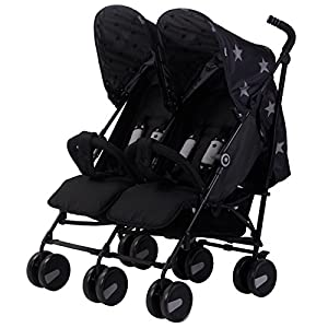 My Babiie MB22 Black Stars Twin Stroller Bugaboo Foam filled rubber tyres Mattress with aerated inlay One hand release carrycot 7