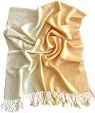 CJ Apparel Cremefarben Zweifarbiges Design Stola Schal Umschlagtuch Schultertuch