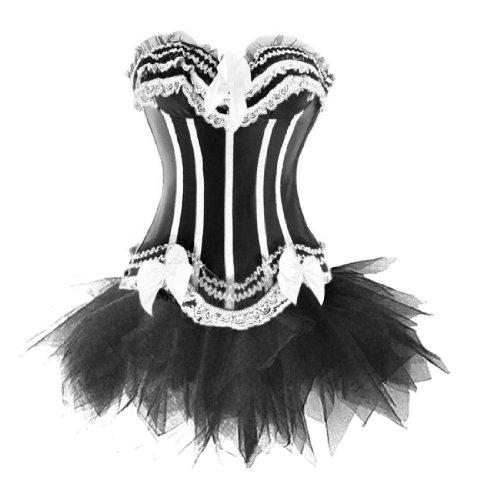 Corsage Kleid Mini Rock Petticoat Tutu Weiß Schwarz -