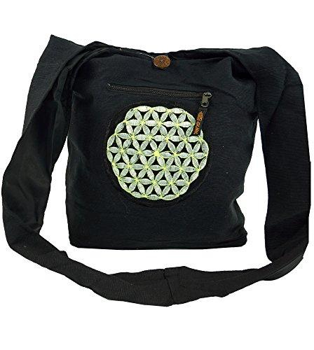 Besticktes Sadhu Bag, Goa Tasche Schulterbeutel / Sadhu Bag, Hippie Beutel Schwarz/Grau