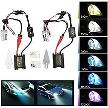 TKOOFN® 2 pezzi 55W H1 Xenon HID Lampadina, Kit Accessori Universale per AUTO 55W, 8000K, BIANCO - PL801A
