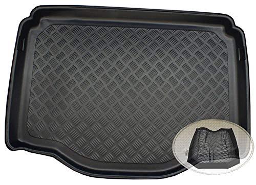 ZentimeX Z3340608 Geriffelte Kofferraumwanne fahrzeugspezifisch + Klett-Organizer (Laderaumwanne, Kofferraummatte)