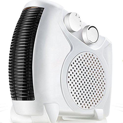Electrical Fan Heater, Portable 2KW Heater with Adjustable Thermostat Temperature Control. Compact and Space Saving Design Ideal for Homes, Offices & Workplaces. (White)