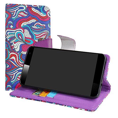 LiuShan Vodafone Smart Platinum 7 Hülle, Brieftasche Handyhülle Schutzhülle PU Leder mit Kartenfächer und Standfunktion für Vodafone Smart Platinum 7 Smartphone,Mushroom Fantasy