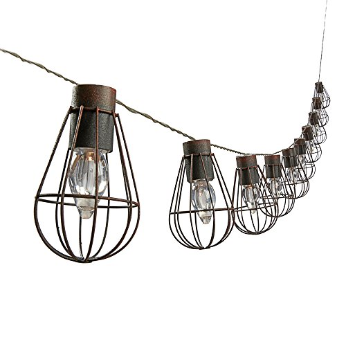 Outdoor Hanging LED Solar Powered Bulb Cage String Lights Set of 10. (Pack of 1)