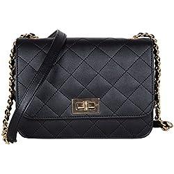 ADISA SL5008 black women girls quilted sling bag