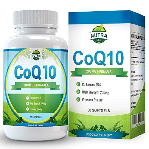 COQ10, Coenzym Q10 200mg Unterstützt Ihr Herz-Kreislauf-System, Kurbelt das Immunsystem an, Bietet Schmerzlinderung und beugt Ermüdung Nach Dem Training vor - 60 Koenzym Q10 Kapseln