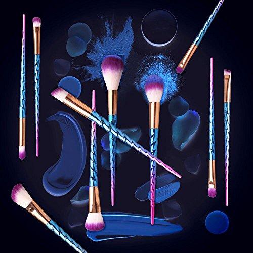Make up Brushes Set Colorful unicorn 12Pcs Foundation Eyebrow Eyeliner Eyeshadow Brush Cosmetic Conceler Brushes Kit Tool (violet)