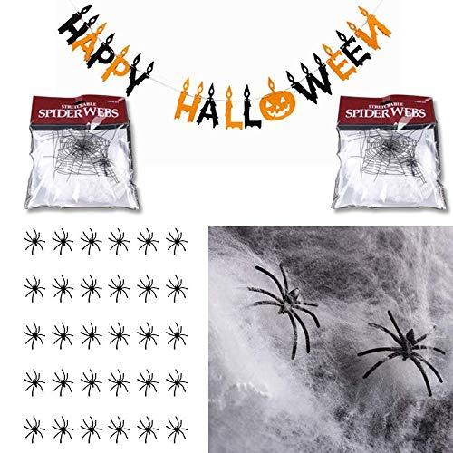 Caiery 2 pcs Spinnennetz Weiß Halloween Deko