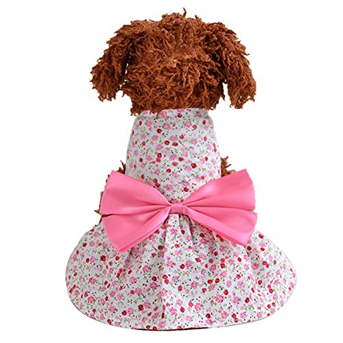 Kostüm Pink Ribbon Pet - Puseky Niedliche Blumenhündchen Katze Prinzessin Dress Pet Bowknot Ribbon Rock Kostüme (Color : Pink, Size : L)