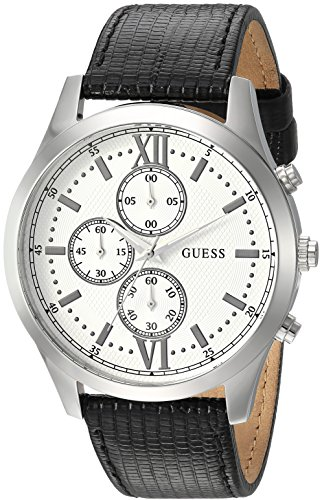 Guess Men's Stainless Steel Casual Leather Watch, Color: Black (Model: U0876G4)