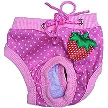 Ropa interior de perro mascotas - SODIAL(R) Ropa interior panal pantalones cortos lindo sanitario de perro mascotas femenina Rosado L