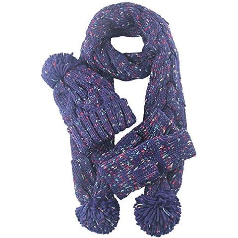 Kissing U Invierno Guantes de lana caliente del sombrero de la bufanda del sombrero guantes de punto bufanda del esquí (Azul marino)