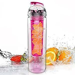 CAMTOA 800ml Bottiglia Tritan Per Infusioni e Bevande Alla Frutta /Trasparente Sport Bottiglia Zucca Succo Di Frutta Infusione Acqua - No Senza BPA Rosa