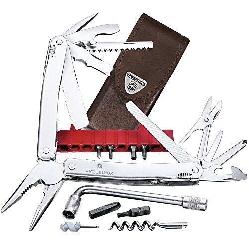 Victorinox Multifunktionswerkzeug Swiss Tool Spirit XC Plus (35 Funktionen, Leder-Etui) silber