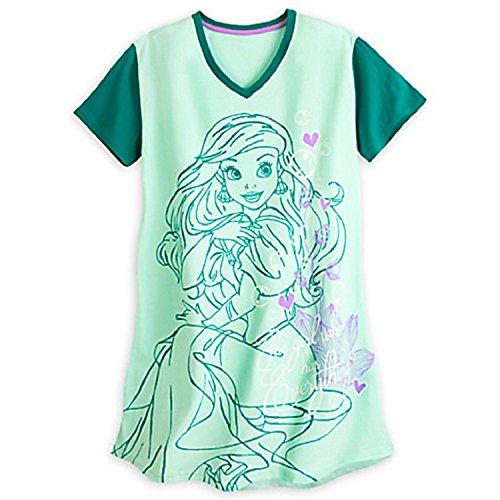 Disney Store Ariel Ladies Nightshirt Nightgown Mermaid Green Green