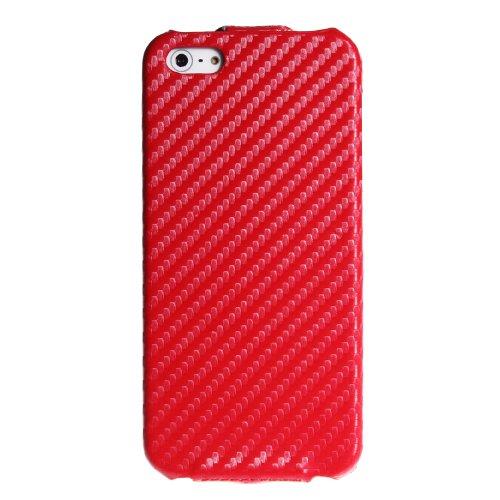 wortek Flip Case Look Schutzhülle Tasche zum Aufklappen Apple iPhone 5 / iPhone 5S Rot 5 / 5S - Rot