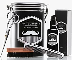 Hochwertiges Bartpflege Set – inklusive Mr. Burton´s Bartöl, Bartbürste, Bartschere und Kamm – als Geschenk, oder Geburtstagsgeschenk für Männer und Bartträger (CLASSIC)
