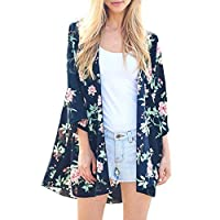 iYBUIA Women's Fashion Lady Foral Prints Shawl Chiffon Kimono Cardigan Top Cover Up Blouse Beachwear Large Navy