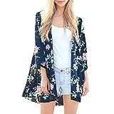 MRULIC Damen Florale Kimono Cardigan Boho Chiffon Sommerkleid Beach Cover up Leicht Tuch für die Sommermonate am Strand oder See (S, Z5-Marineblau)