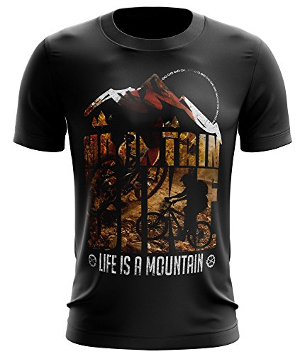 Stylotex Fitness T-Shirt Life is a mountain v1 Funktions-Stoff schnelltrocknend, Farbe:schwarz;Größe:L (Life T-shirts Mountain)