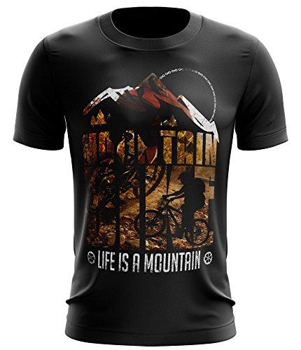 Stylotex Fitness T-Shirt Life is a mountain v1 Funktions-Stoff schnelltrocknend, Farbe:schwarz;Größe:M (Rad-trikots Spezielle)