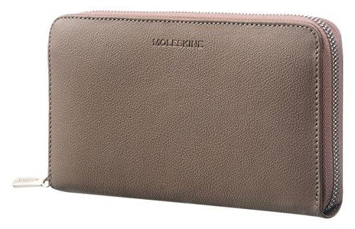 Französisch Geldbörse Damen Brieftasche (Moleskine Lineage Brieftasche mit Reißverschluss, Leder Münzbörse, Taupe)
