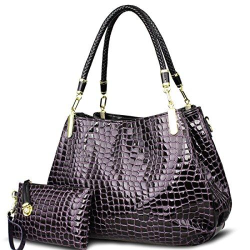 WU Zhi La Signora Modello Coccodrillo Borse Spalla Messenger Bag Purple