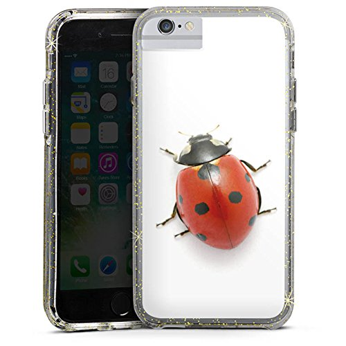 Apple iPhone X Bumper Hülle Bumper Case Glitzer Hülle Kaefer Insekt Glücksbringer Bumper Case Glitzer gold