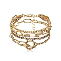 DAWEIF Trendy Geometric Crystal Multi Layer Chain Bracelets Adjustable Charm Jewelry Accessories Bracelet Set for Women Gifts(Gold)