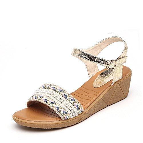 XY&GKMuffin dicken Sohlen von Sandalen Frauen Sommer weben Sandalen mit wasserdichten Taiwan Code, komfortabel und schön 37 gold