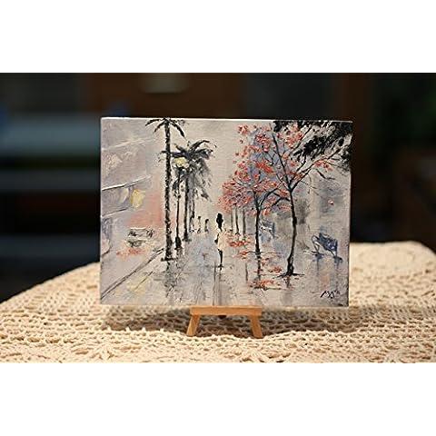 Hechos a mano original firmado Aceite Pintura Art Home Decor Miracle Cityscape Paisaje
