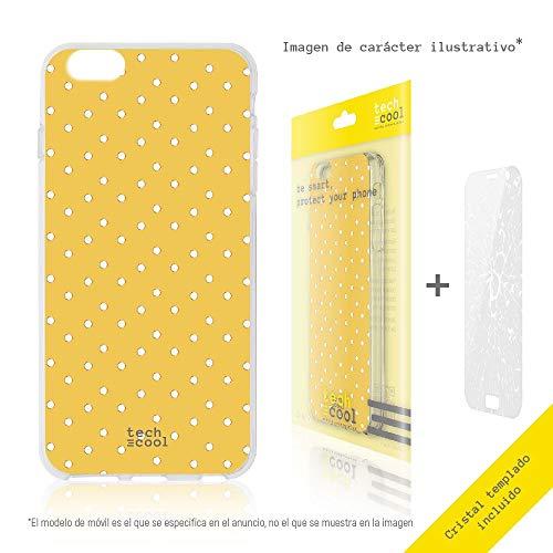 Funnytech® Funda Silicona para Xiaomi mi MAX 2 [Gel Silicona Flexible, Diseño Exclusivo] Fondo Amarillo Lunares